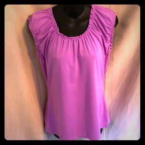 Loft Pink/Purple Ruffle Sleeveless Top Size Large